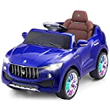 Costzon Kids Ride On Car, Licensed Maserati Battery Powered Vehicle, Parental Remote Control & Manual Modes w/Opening Doors, Swing Function, Bluetooth, USB, MP3, Horn, Music, LED Lights (Blue)
