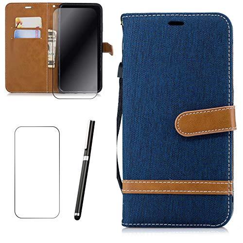 Samsung Galaxy j2 pro 2018 Hülle LaiXin Tasche Schutzhülle Handy Cover Handytasche Flip Hülle Book Style [Stoff Bezug & PU Leder] mit Standfunktion + Stylus Pen + Bildschirmschutz-Marine