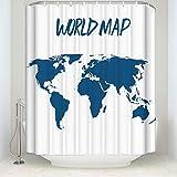 ufengke Duschvorhang Weltkarte Silhouette mit 12 Haken Weiße Duschvorhang aus Stoff Polyester Wasserdicht Anti Schimmel für Badezimmer 180x180cm