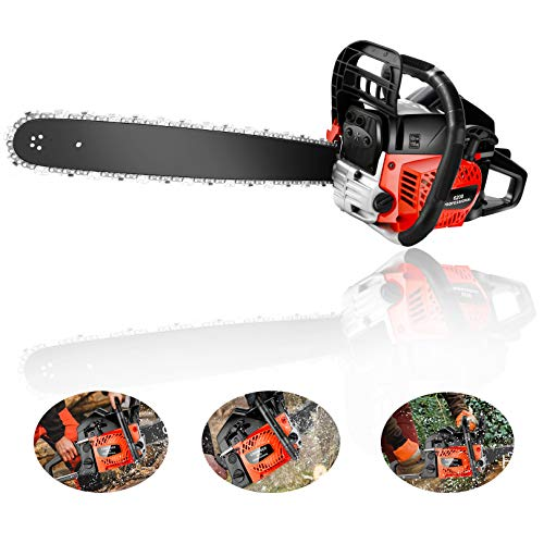 Homdox 20 Inch Gas Powered Chainsaw 62CC 2-Stroke Handheld Chain Saw with Tool Kit for Cutting Trees, Wood(Red Black)