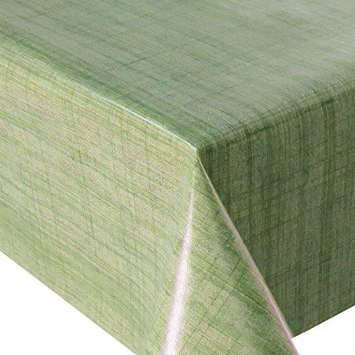 Wachstuch Leinenlook Grün · Eckig 140x220 cm · Länge wählbar· - abwaschbare Tischdecke