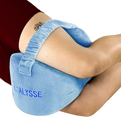 Sciatica Nerve Pain Relief Knee Pillow - Great for pains of Hip, Leg, Knee, Back and Pregnancy - Memory Foam Wedge Leg Pillow with Washable Cover(blue)