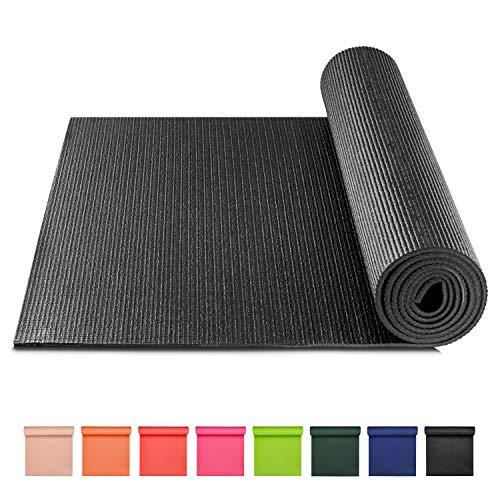 BODYMATE Yogamatte Universal Schwarz - Größe 183x61cm – Dicke 5mm – Schadstoffgeprüft frei von Phthalaten, BPA, Schwermetallen – Trainings-Matte für Fitness, Yoga, Pilates, Functional