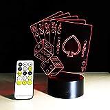 BFMBCHDJ 3D Illusion Poker Cards Velero Control remoto LED Mesa de escritorio Luz nocturna 7 colores Lámpara táctil Niños Familia Regalo de vacaciones