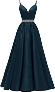 Yexinbridal Glitter Long Beaded Prom Dress Satin V-Neck Spaghetti Formal Evening Gowns