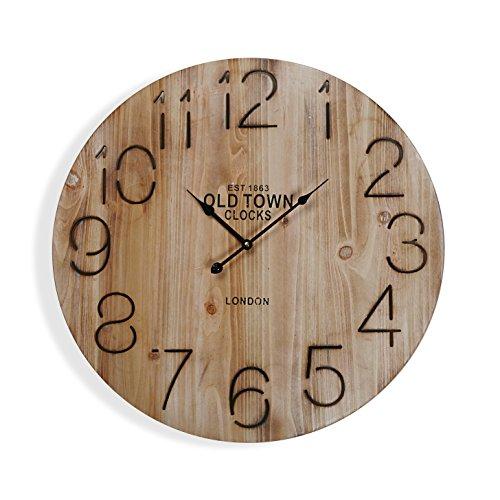 Versa 18190303 Reloj de pared Old Town, Ø58cm diámetro, Vintage, Madera, Marrón