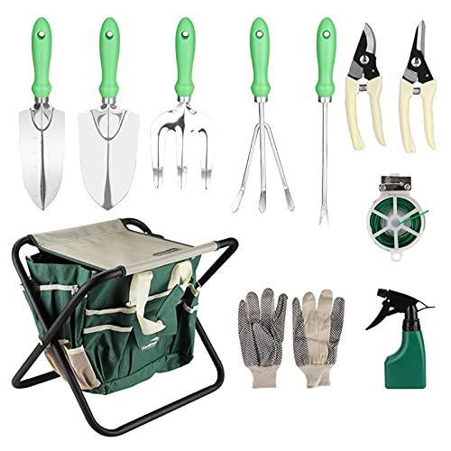 QHDWS 12 pcs Gardening Hand Tools Set with Garden Storage Tote Bag and Folding Chair Seat Garden Tools Kit Organizer for Mom/Dad and Gardeners