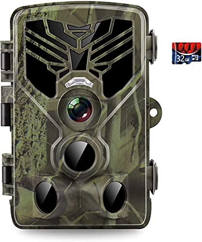 Wildkamera, 24 MP 1520P HD Fotofalle mit 32 GB SD-Karte, Wildkamera mit Bewegungsmelder Nachtsicht 36 IR LED IP65 Wasserdicht Jagdkamera, Infrarot Wildkamera für Überwachung von Wildtieren