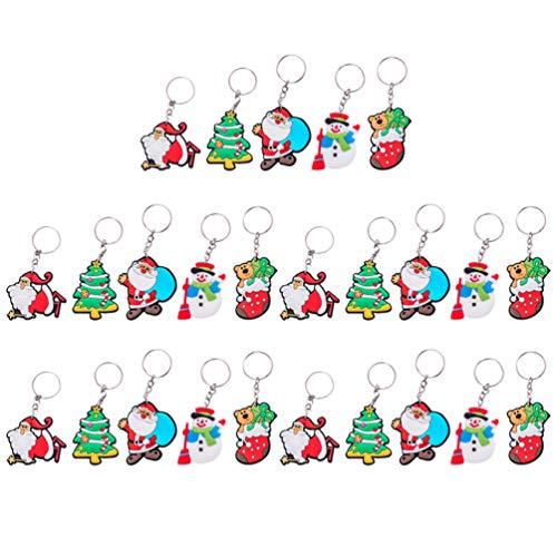 Wakauto 25 Piezas Colgantes de Navidad Llaveros Llaveros de Dibujos Animados Muñeco de Nieve Santa Claus Árbol de Navidad Relleno de Bolsas de Regalo