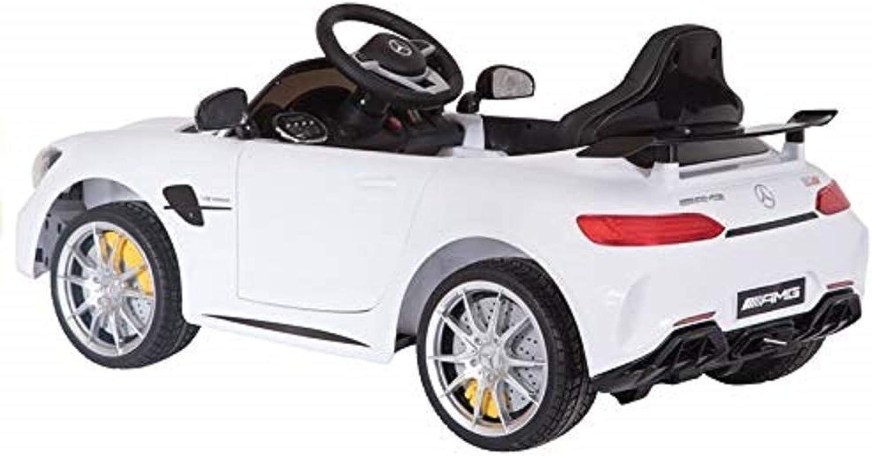 Kinderfahrzeug Elektroauto Mercedes AMG GT R Schwarz 2x45W Eva-Reifen 2.4G Ledersitz Auto für Kinder