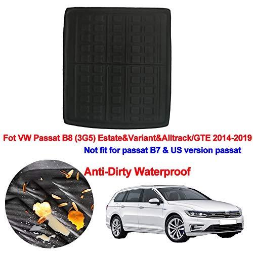 Coche Tronco Trasero Matera de Carga Bandería de la Bandeja de la Alfombra de la Alfombra Piso para VW Passat B8 (3G5) Estate & Variant & AllTrack/GTE 2014-2019