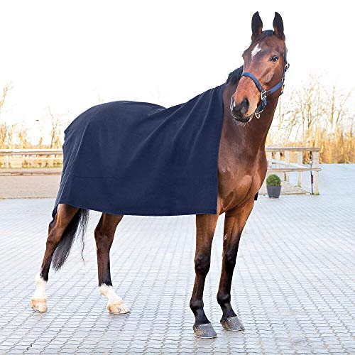 horze Vail Quadratische Abschwitzdecke für Pferde aus Wolle nach dem Training oder Waschen Pferdedecke, Atmungsaktiv, 200x175cm, Marineblau, Blau, one Size