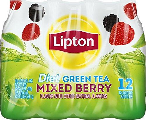 Lipton Diet Green Tea, Mixed Berry, (12 Count, 16.9 Fl Oz Each)