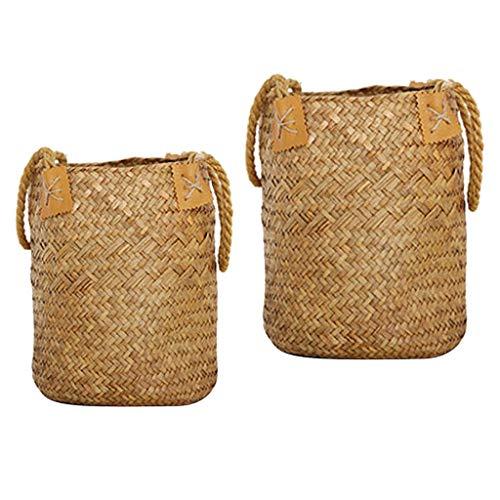 FLAMEER 2 Piezas Seagrass Cesta de Mimbre Bolsa de Playa Tienda Tote Maceta Maceta Caja de Ventana LS