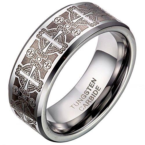 JewelryWe Schmuck Triton Herren-Ring Damen-Ring Wolframcarbid Ring Unisex mit Laser geätzten Kreuz Hochzeitband Verlobungsring 8mm Breite Größe 54 bis 67