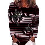 Snakell Camisa De Manga Larga Mujer Cuello Redondo Camisetas A Rayas con Estampado De Gatos Camiseta Ropa De Calle Blusas Informal Tops