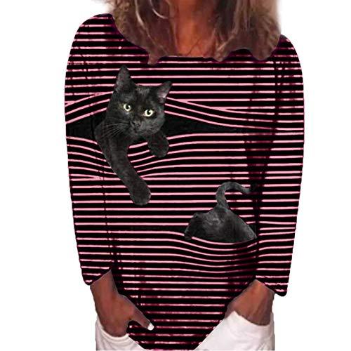 SUNNSEAN Langarm T-Shirt Damen Baumwolle Hoodie Rundhals Gestreift Strucken Pullover Damen mit Motiv Katze Drucken Oberteile Tops Sweatshirts Baumwolle Casual Elegant Hoodies