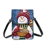 Christmas Xmas Winter Red Parrot Robin Snowman Leather Small Phone Bag Crossbody Cell Phone Purse For Women Cellphone Shoulder Bags Card Holder Wallet Purse With Adjustable Strap Gifts