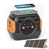 QAQWER Generateur Solaire 220V Groupe Electrogene Solaire avec Panneau Solaire & Fonction de Charge sans Fil & Éclairage LED 340W Onde Sinusoïdale Generateur Electrique pour Maison d'urgence