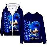 Sudadera con Capucha y Cremallera Anime niño, Sonic The Hedgehog Boy's Sweatshirt, Sonic Printed niño Hoodie