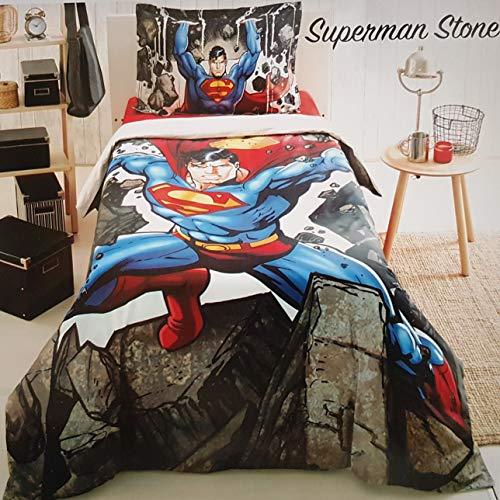 ALWAYS_CHEAPEST Superman Stone Children's Duvet Cover Quilt Cover Bedding Set Single/Twin Bedding for Boys 100% Cotton (3 PCS)