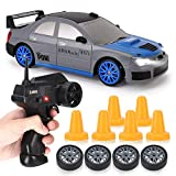 RC Drift Car 1/24 2.4GHz 4WD Remote Control Sport Racing On-Road Vehicle with LED Light, Batteries and Drift Tires (Silver WRX)