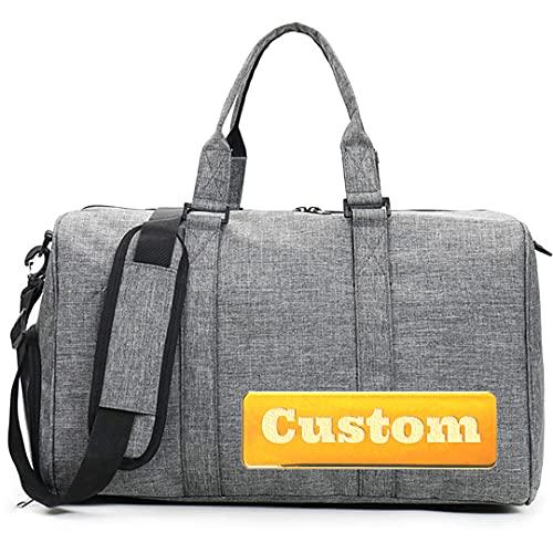 Borsa da Viaggio Nome personalizzato Duffel Pieghevole Borsa a borsino leggero impermeabile Impermeabile Duffel extra grande Borsa a spalla del fine settimana (Color : Grey, Size : One size)