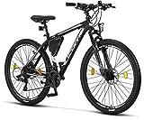 Licorne Bike Bicicleta de montaña prémium para niños, niñas, hombres y mujeres, cambio Shimano de 21 velocidades, para hombre, Effect, Niñas, negro/blanco (2 frenos de disco)., 27.5 inches