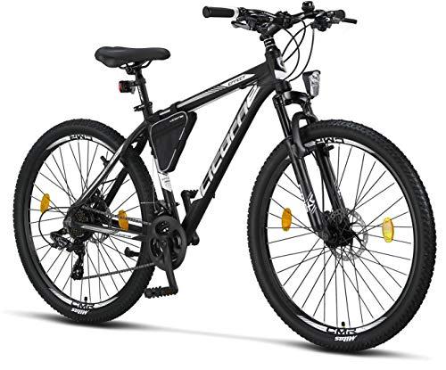 Licorne - Mountain bike Premium per bambini, bambine, uomini e donne, con cambio Shimano a 21 marce, Bambina, nero/bianco (2 freni a disco)., 27.5 inches