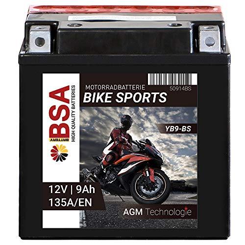 BSA AGM Motorrad Batterie YB9-B 9Ah 12V 135A/EN CB9-B Erstausrüsterqualität trocken vorgeladen inkl. Säurepack total wartungsfreie Starterbatterie
