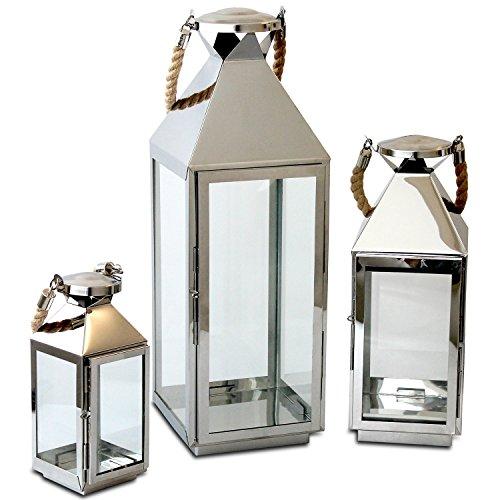 3tlg. Edelstahl Laternen-Set H55,5/40/25cm Windlicht mit Echtglasscheiben Laterne Gartenlaterne Kerzenhalter Gartenbeleuchtung