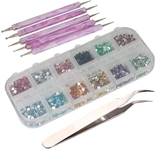 CJESLNA 3000pcs 2mm 12 Color Nail Art Glitter Rhinestones Tips + 5 x 2 Way Marbleizing Dotting Pen + Tweezer