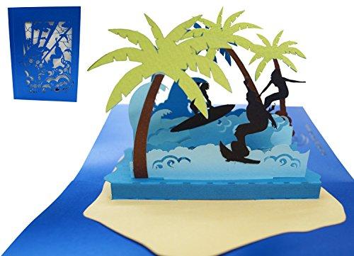 LIN 17409, POP- UP Karte 3D Grußkarten Surfer, Pop Up Karte Urlaub, POP UP Karten Geburtstag, Pop Up Geburtstagskarte, Glückwunsch Geburtstagskarten Reisegutschein Urlaub Surferinsel, N714