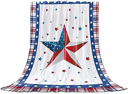 BONRI Manta de franela con diseño de bandera de la Independencia de la estrella americana, manta de microfibra para sofá blanco, rojo, azul, cuadros búfalo de 127 x 152 cm