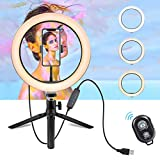 Ring Light for Video - 10' Selfie Ring Light with Tripod Stand & Cell Phone Holder for Live Stream/Makeup, Dimmable Led Camera Beuty Ringlight for YouTube Video/Photography for iPhone and Android