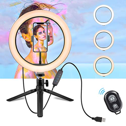10″ Selfie Ring Light with Tripod Stand & Cell Phone Holder $18.98 (62% Off)
