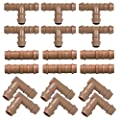 "iRunning 18 Pieces Irrigation Fittings Kit (17mm) for 1/2"" Tubing (0.600""ID) – Including 6 Tees, 6 Couplings, 6 Elbows – Barbed Connectors for Sprinkler and Drip Irrigation Systems …"