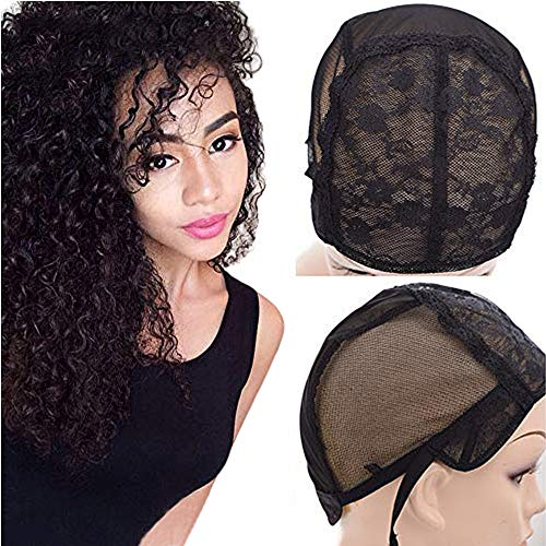 Alileader Double Lace Wig Cap With Adjustable Straps for Making Wigs Wig Making Caps for Black Women On The Back Swiss Lace Hairnet (Black S)