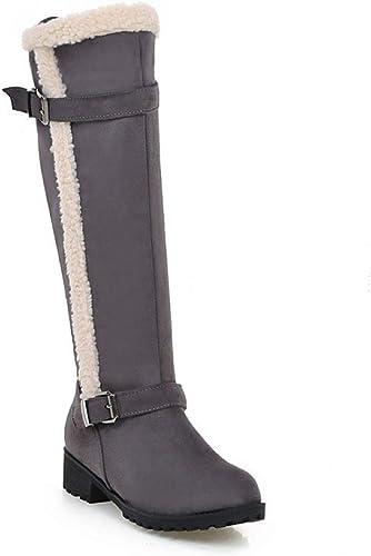 ZHRUI Stiefel para damen - Stiefel para la Nieve Calientes Antideslizantes de Invierno Stiefel de tacón bajo Stiefel de algodón Ocasionales 34-43 (Farbe   grau, tamaño   41)