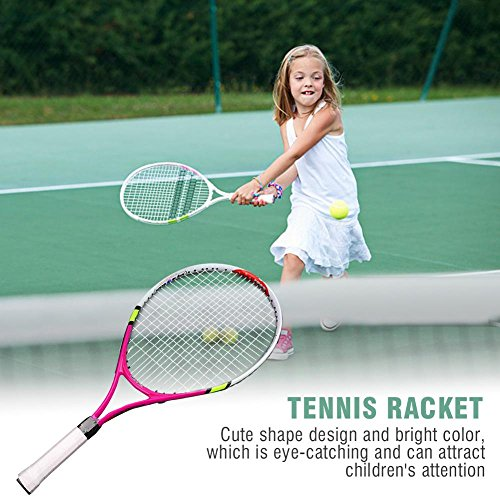3 Colors Single Tennis Racket with Carry Bag Kids Training Practice Racquet (Rose Red)