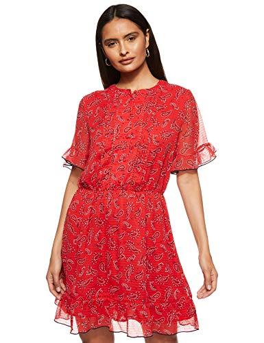 Tommy Jeans Damen Tjw Frill Hem Shortsleeve Dress Kleid, Rot (Paisley Print/Deep Crimson 0k2), 34 (Herstellergröße: Small)