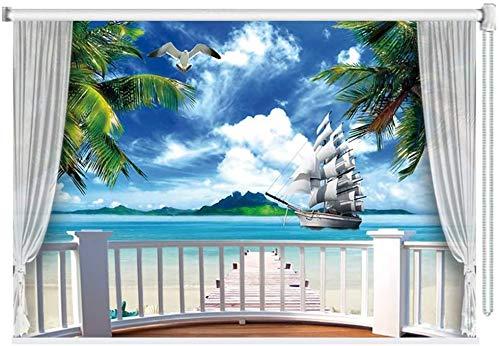 HHJJ 3D Blackout Fenster Rollos/Jalousien-Strand-Muster for Wohnzimmer Schlafzimmer Küche - 60cm / 80cm / 100cm / 120cm / 140cm Breite (Size : 60x180cm)