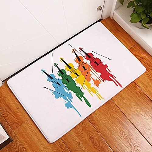 OPLJ Alfombra de Suelo Impresa con Notas de rima Musical para Sala de Estar, baño, Cocina, Entrada, Felpudo Antideslizante A1 50x80cm
