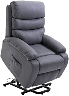 Homegear 2-Remote Microfiber Power Lift Electric Recliner Chair with Massage, Heat and Vibration (Charcoal)
