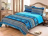 Linen Mart Southwest Aztec Sherpa Borrego Fleece Blanket - 3 Piece Set (Turquoise)