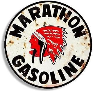 American Vinyl Round Vintage Marathon Gas Sticker (Gasoline Logo Old Rat Rod)