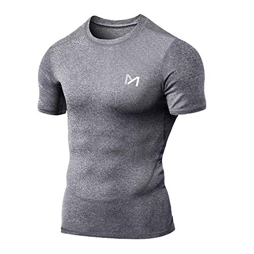 MEETYOO Kompressionsshirt Herren, Laufshirt Kurzarm Funktionsshirt Atmungsaktiv Sportshirt Männer T-Shirt für Running Jogging Fitness Gym (Grau, L)