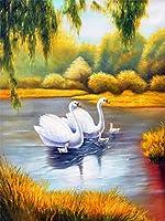 5Dダイヤモンドペインティング白鳥ダイヤモンド刺繍クロスステッチ動物の写真ラインストーンモザイク家の装飾40x30cm