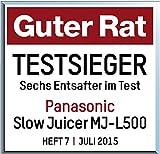 Panasonic MJ-L500S Slow Juicer / Entsafter / 2 Einsätze für Säfte & tiefgefrorene Zutaten / Frozen Joghurt / Silber