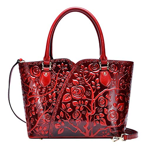 PIJUSHI Designer Handbags For Women Floral Purses Top Handle Handbags Satchel Bags (22328 red)